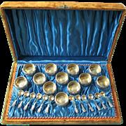 Rare & Fabulous Antique RENAISSANCE Salt Spoon and Cellar Set in Original Fitted Presentation Case 1886