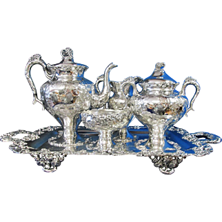 Antique Coffee Tete a Tete Set 5 Pc Hand Chased Grapes 1880s BARBOUR Silverplate