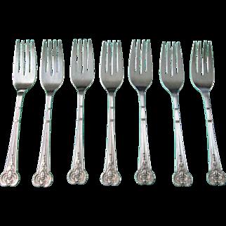ANTIQUE EGYPTIAN 7 Salad or Dessert Forks 1909 Scarab Motif Silverplate