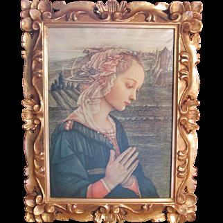 Vintage Hand Carved & Gilded Frame with Lippi Madonna Print on Canvas