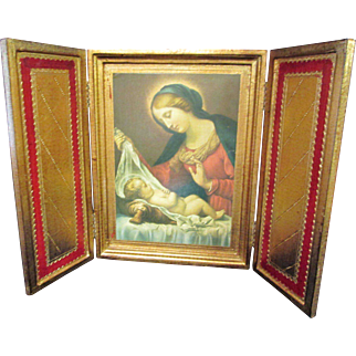 Vintage Florentine Tryptyk Raphael's The Madonna and Child 5 Made for Neiman Marcus