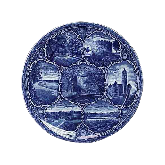 Blue & White Rowland & Marsellus Souvenir Plate Minneapolis Minnesota