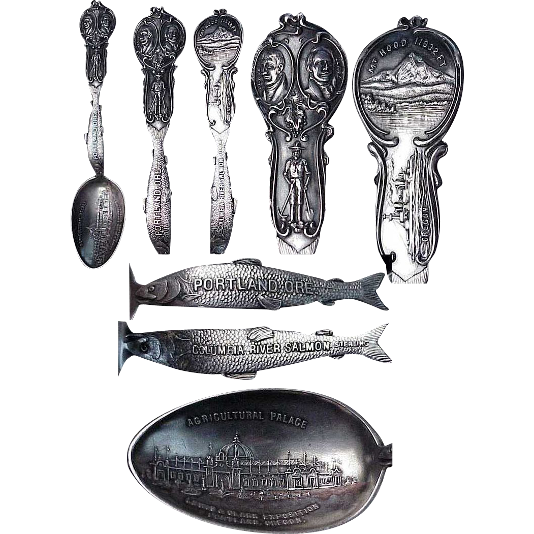 Lewis & Clark Exposition with a Figural Fish Handle Sterling Souvenir Spoon