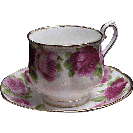 "Royal Albert "" Old English Rose "" Cups & Saucers w/ Big Beautiful Blooms"