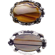 Montana Agate Sterling Silver Pin