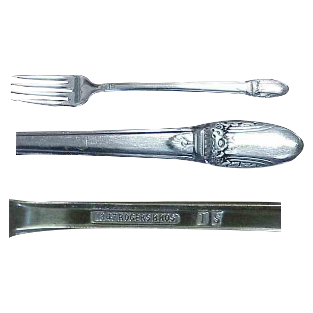 "1847 Rogers Bros. First Love Pattern 7 & 5/8"" ( 4 ) Viande Forks"