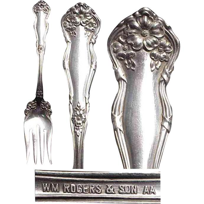 "1908 Wm Rogers & Sons "" Arbutus "" Cold Meat Silverplated Serving Fork"