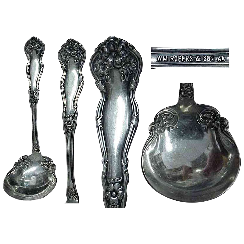 "1908 Silver Plated Wm Rogers & Sons "" Arbutus "" Gravy Ladle"