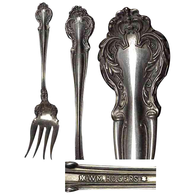 1906 Silverplate Serving Fork Cedric Pattern by Wm Rogers