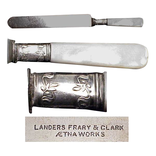"""1890's Pair of Landers Frary & Clark Mother Of Pearl Handled  8 & 1/2"""" Knives"""
