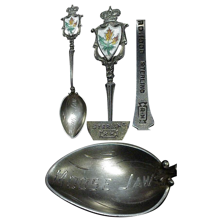 "Sterling  3 5/8""Demitasse Spoon Souvenir of Moose Jaw Canada"