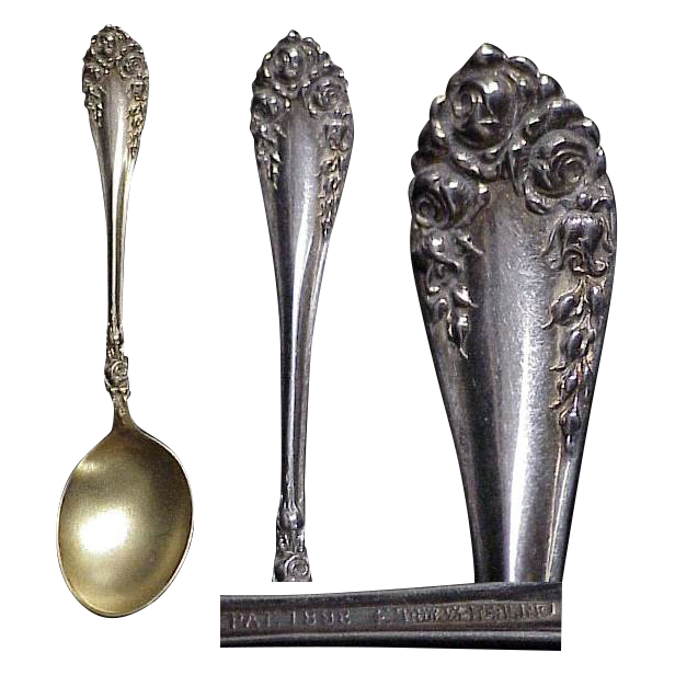 (3) Hot Chocolate Sterling Silver Spoon by Wallace 1888 Rose Pattern