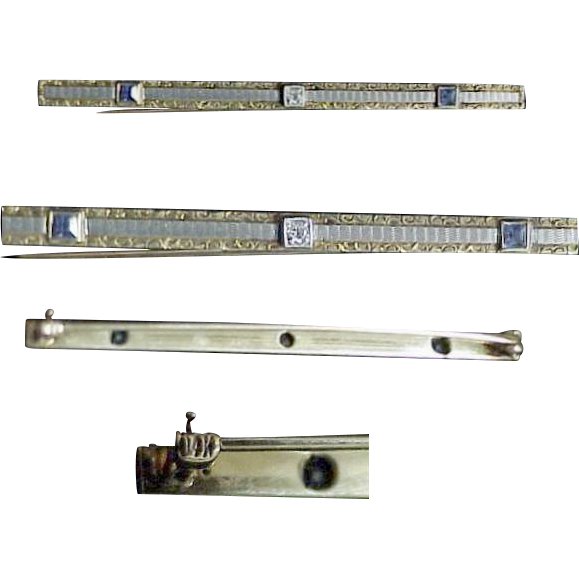 Victorian 14K Slender Bar Pin with Sapphire's &  Diamond