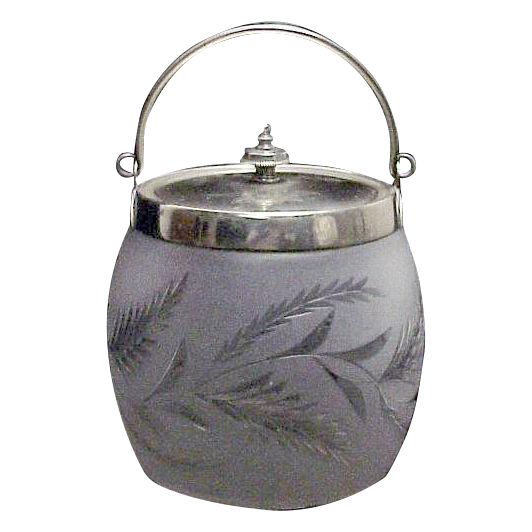 Satin Finish Glass English Biscuit/Cracker Jar w/ Cutting to Clear
