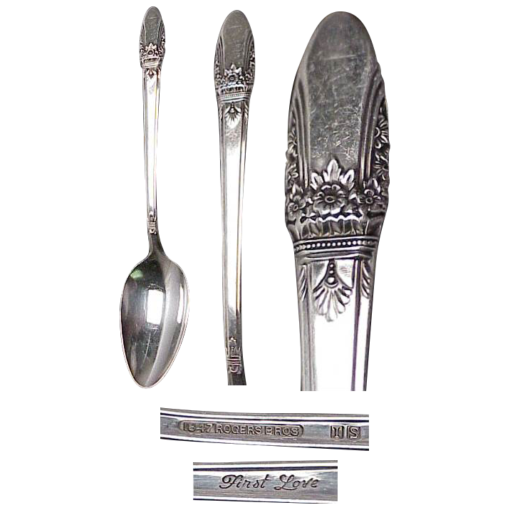 "1847 Rogers First Love Pattern Set of (10) 6 1/8"" Teaspoons"