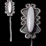 Silver & Fire Opal Stickpin