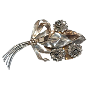 "Sterling Silver 4""  Bouquet of Flowers Pin / Brooch"