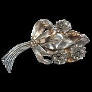 "Sterling Silver 4""  Bouquet of Flowers Pin / Brooch"