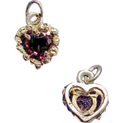 10K Heart Shaped Gold Pendant / Drop with Red Garnet Stone
