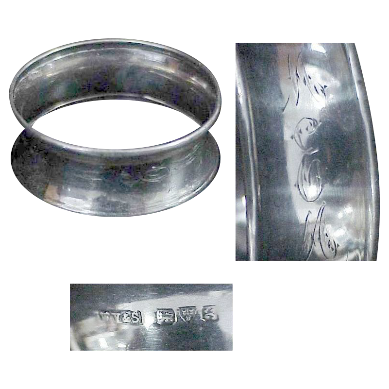 English Chester Sterling Hallmarked Napkin Ring Circa  1923