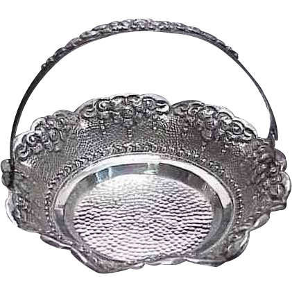 Hand Hammered Repousse Continental Silver Candy Basket