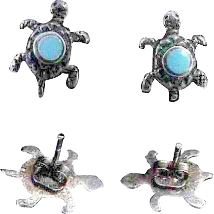 Sterling & Turquoise  Tiny Turtles Earrings