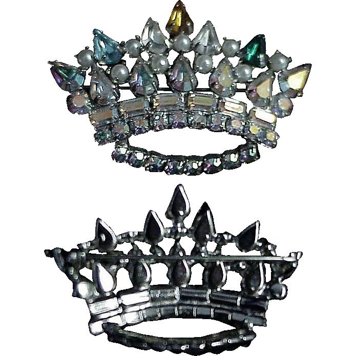 Vintage Crown Pin with Aurora Borealis Rainbow Stones