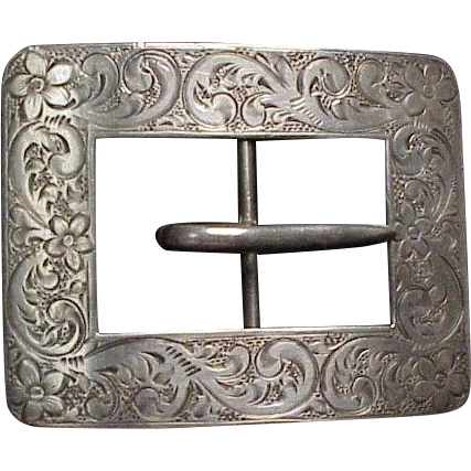 Large Fancy Sterling Silver Belt Buckle w/ Hand Engraved Design