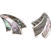 Silver & Abalone Shell Screw On Earrings