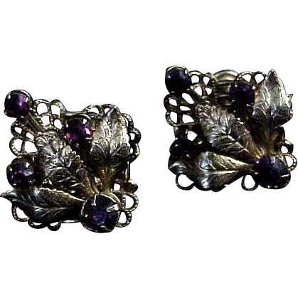 Pair of  Screw Back Earrings w/ Purple Amethyst colored Rhinestones
