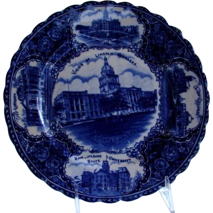 "Antique Blue & White Historical Plate ""Views of Lincoln Nebraska"""