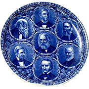 "Blue & White Rowland & Marsellus Historical "" Great American Poets "" Plate"