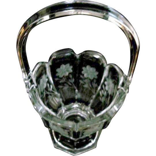 "Large Heavy 13""  1910 Heisey Clear Crystal Glass Basket with Floral Cutting with Handle"