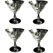 (1) Cambridge Rosepoint Crystal Glass Etch Ftd 7 oz Champagnes / Sherbets