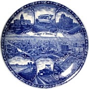 "Blue & White Rowland & Marcellus Historical Plate ""View of Denver"""