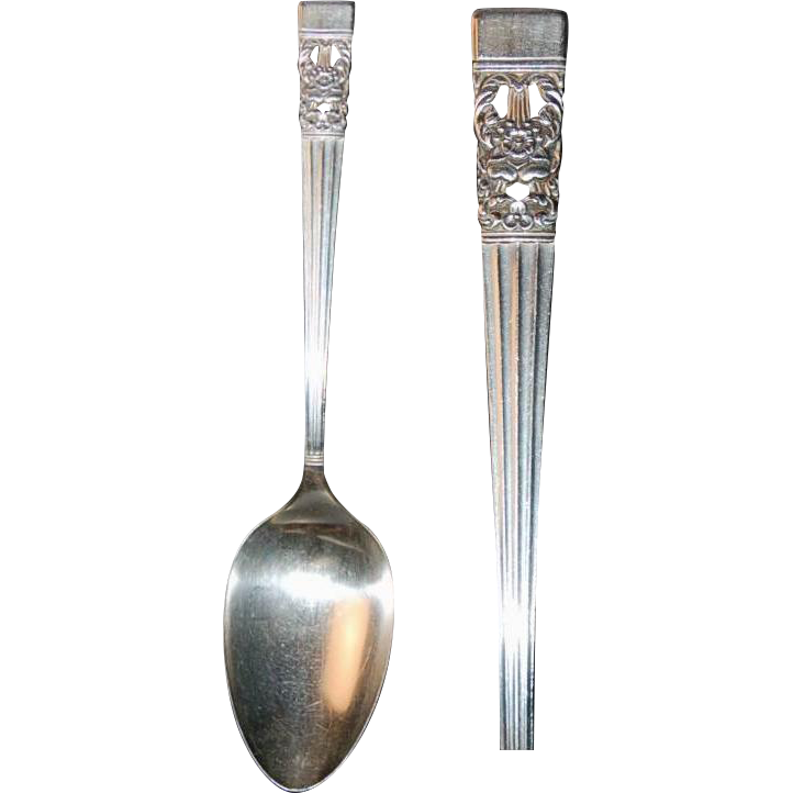 "Community ""Coronation"" Pattern Silverplate (2) Serving Spoons"