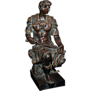 "1880's - 1890's Bronze Florence Figure ""Giuliano duke of Nemours""  copy of marble statue by Michelangelo"