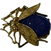 Gold Plated Sterling Figural Bug/Fly - Scarab Pin