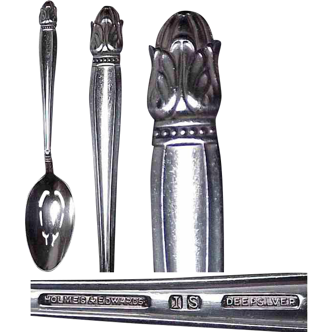 Holmes & Edwards Danish Princess Pattern Silverplate Slotted Serving Spoon
