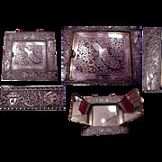 Fabulous 1876 Silverplated Philadelphia Centennial Hanging (3) Part Folding Mirror