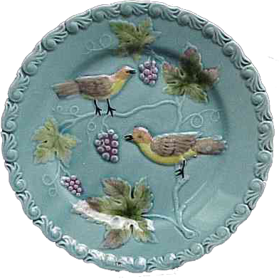 Turquoise Majolica Plate with Birds & Grapes