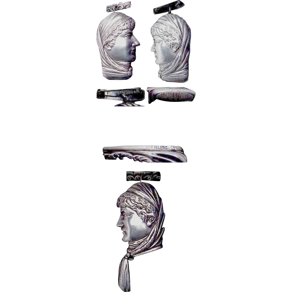 Figural Lady Sterling Matchsafe/Match Safe of Sarah Bernhardt