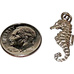 "Vintage Sterling Silver Charm for Charm Bracelet ""Sea Horse"""