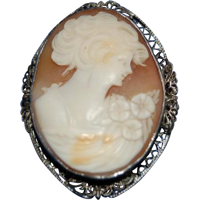 "Carved Cameo "" Beautiful Lady "" in Fancy Filligree Sterling Silver Bezel / Mounting Frame"