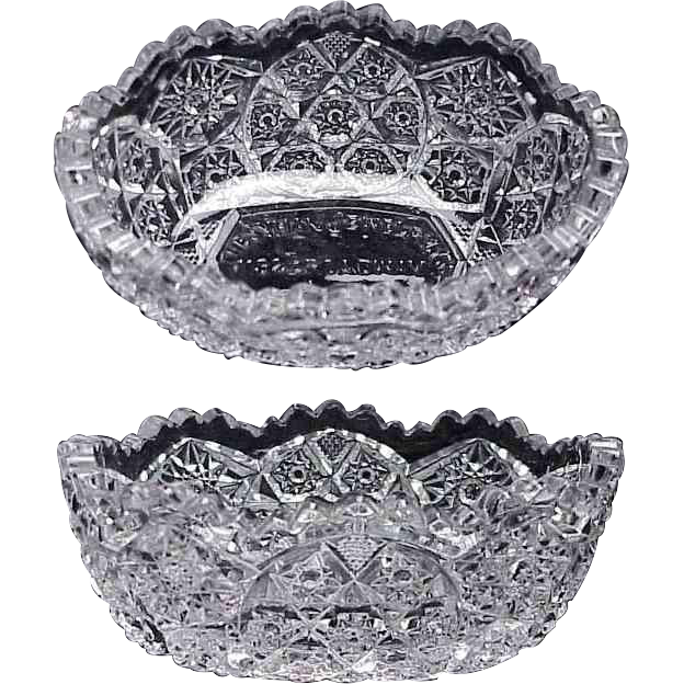 1900's Pattern Pressed Glass Bowl w/ Jewelry Store Advertising / Tacoma Washington