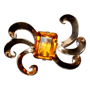 Sterling Brooch/Pin with Large Topaz Looking Stone