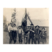 1900's Early Photograph of 6 Scruffy Deer Hunters