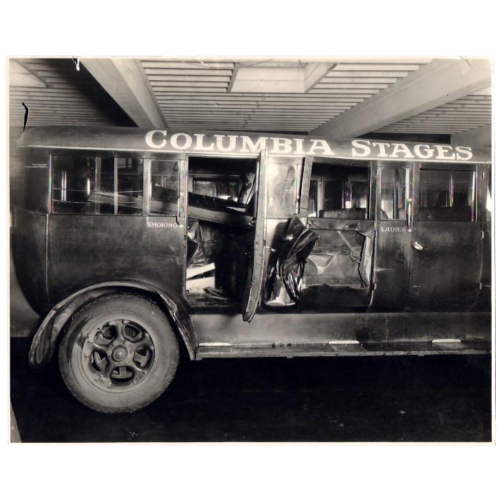 Old Photograph of a Wrecked 1920's Bus from the City of Roses