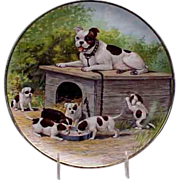 "1900's Bull Dog w/ her (6) Puppies  9 1/2"" Portrait Plate by Taylor, Smith & Taylor"