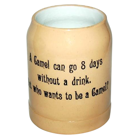 """1900's Humorous Old Heavy Germany Mug with """"Camel"""" Saying"""
